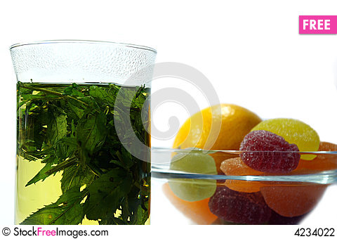 Free Herbal  Mint Tea And  Fruit Candy Stock Photography - 4234022