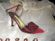 Free Red Shoes Over Dress Of Bride Royalty Free Stock Image - 4230786