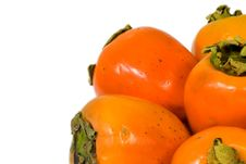 Free Fresh Persimmon White Isolated Background Royalty Free Stock Photography - 4231257