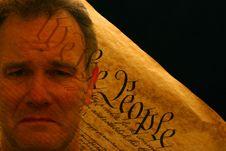 Free Man S Portrait Superimposed Over US Constitution Stock Photos - 4231853