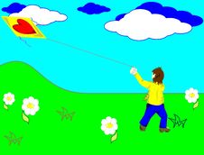 The Boy And A Kite Royalty Free Stock Photo