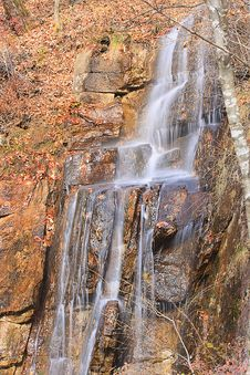 River Flows Down Softly From A Mountain. Waterfall Stock Photos