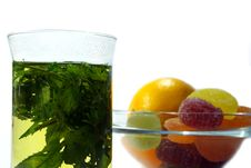Herbal  Mint Tea And  Fruit Candy Stock Photography