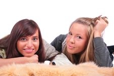 Two Girls Lying In Fur Royalty Free Stock Image