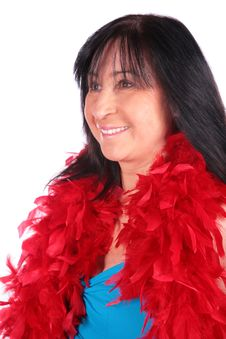 Free Woman In Red Feather Shawl 2 Stock Photography - 4234152