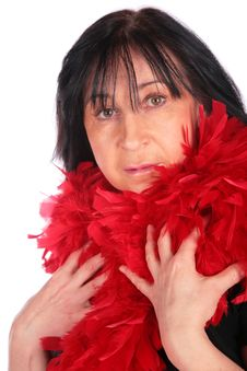 Free Woman In Red Feather Shawl Royalty Free Stock Photography - 4234197