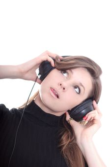 Free Brunette With Earphones Stock Image - 4234411