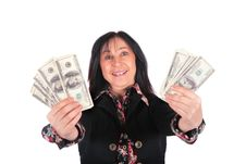 Free Woman And Dollars 2 Stock Image - 4234471