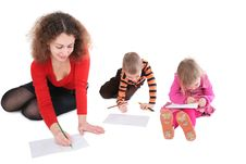 Free Mother With Children Drawing Stock Photos - 4234943