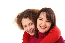 Two Girls Embraces Stock Image