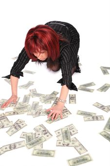 Free Woman Gathering Dollars Royalty Free Stock Image - 4235226