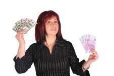 Woman Holds Dollars And Euro Stock Photos