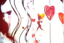 Valentine Hearts And Glass Decoration Royalty Free Stock Photos