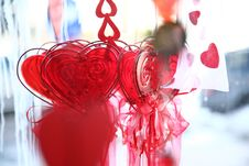 Valentine Hearts And Glass Decoration Stock Photography