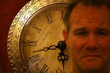 Man S Face Superimposed On Clock Stock Images