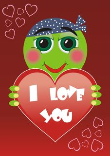 Cartoon Valentine Card Royalty Free Stock Photo
