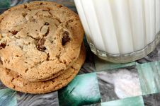 Free Chocolate Chip Cookies And Milk Stock Photo - 4236220