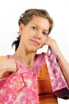 Free Young Woman After Shopping Stock Photography - 4236282