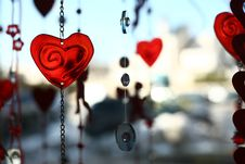 Valentine Hearts And Glass Decoration Stock Image