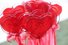 Valentine Hearts And Glass Decoration Stock Photo