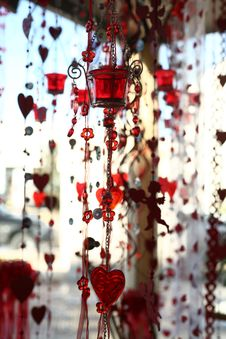 Valentine Hearts And Glass Decoration Royalty Free Stock Image