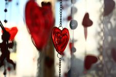 Valentine Hearts And Glass Decoration Stock Images