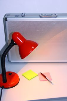 Free Red Reading Lamp And Metal Key Stock Photos - 4238193