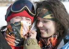 Free A Lifestyle Image Of Two Young Snowboarders Royalty Free Stock Photos - 4238868