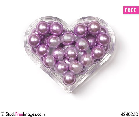 Free Heart-shaped Box With Pink Pearls Stock Photo - 4240260