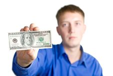 Man Hold $100 Stock Photography