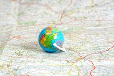 Free Globe On Map Royalty Free Stock Photo - 4240365