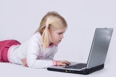 Free Girl Using Laptop Royalty Free Stock Photos - 4241068