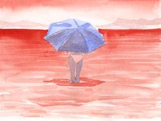 Free Red Sea - Girl With Umbrella Stock Images - 4241144