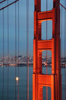 Golden Gate Bridge Cables Blue Stock Photography