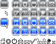 Free Set Of Web Icons. Royalty Free Stock Photo - 4244945