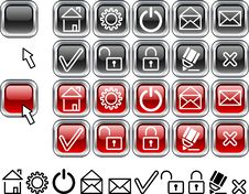 Free Set Of Web Icons. Royalty Free Stock Photos - 4245018