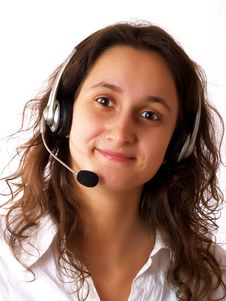 Free Woman Wearing A Headset Stock Photography - 4245222