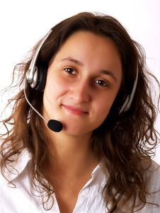 Free Woman Wearing A Headset Stock Photos - 4245243