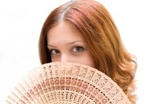 Free Girl Close Your Face By Fan Stock Photos - 4245963