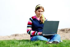 Free Young Girl And Laptop Stock Photography - 4246782