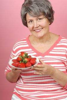 Free Woman With Strawberries Stock Photo - 4247300