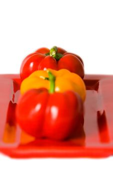 Free Macro Of Bellpeppers On A Red Plate. Royalty Free Stock Image - 4248846