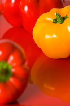 Free Red And Yellow Bellpepper Macro. Stock Photos - 4248853