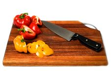 Free Sliced Bell Peppers On Cutting Board. Royalty Free Stock Image - 4249156