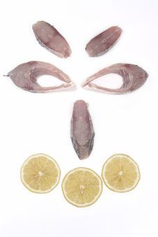 Smiley Face Made Out Of Slices Of Fish And Lemon Royalty Free Stock Image