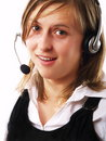 Free Woman Wearing A Headset Royalty Free Stock Images - 4253699