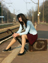 Free Girl Waiting For The Train Stock Photography - 4259572