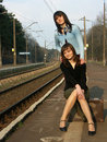 Free Girls Waiting For The Train Royalty Free Stock Images - 4259629