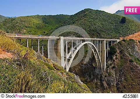 Free Bridge Connecting Two Mountains Stock Image - 4255881