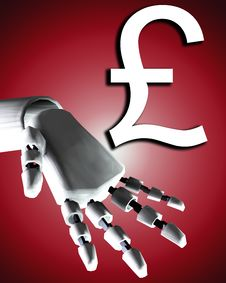 Free Robo Hand And Money 2 Stock Photography - 4252062
